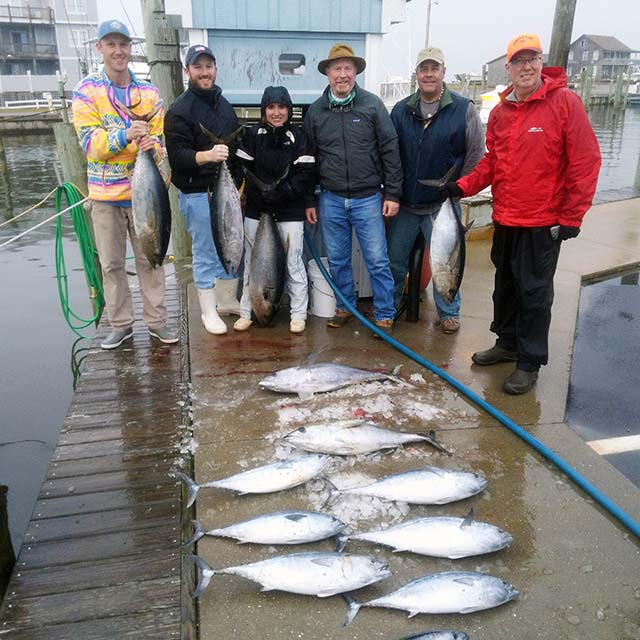 deep sea anglers holding yellowfin and blackfin tunas
