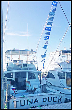 white marlin release flags flying on the Tuna Duck